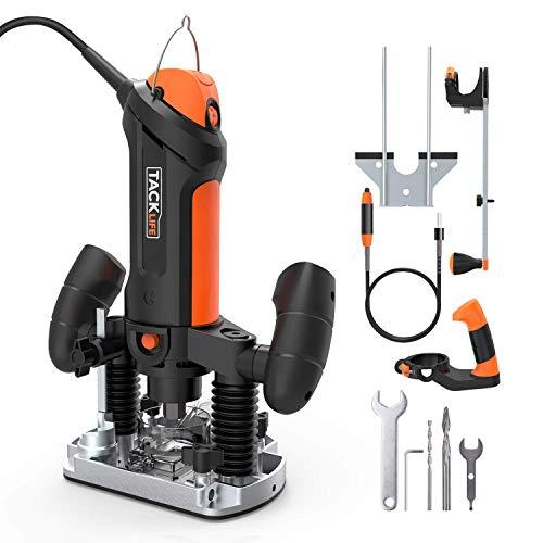 Fresatrice Verticale, Tacklife 10000-30000RPM 600W Elettrofresatrice con Albero Flessibile, 2 Pinze...