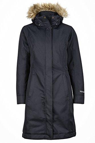 Marmot Wm's Chelsea Coat, Piumino Leggero Isolante, Densità Dell'imbottitura 700, Cappotto da Esterno, Giacca Impermeabile Idrorepellente, Antivento Donna, Nero, M