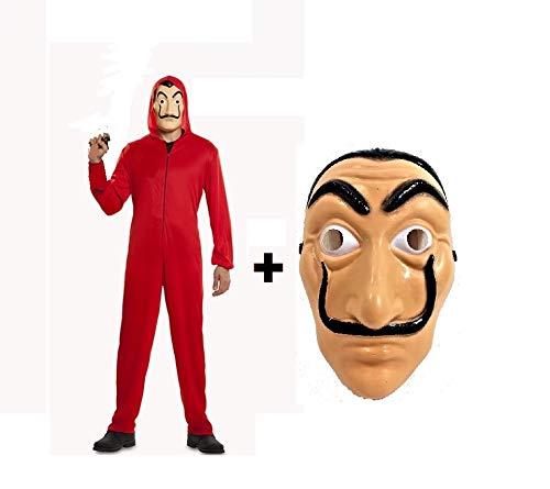 LBA Disfraz inspirado en una famosa serie de televisión. No es el ORIGINAL. Mono rojo con capucha y Máscara. (Talla 42-44 Mujer)