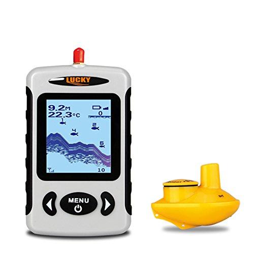 LUCKY profondità Portatile Senza Fili Finder, Pesca sensore del Sonar del trasduttore con Una Portata Maggiore Aerea, ecoscandaglio Allarme con Display LCD