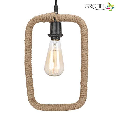 Groeien Urban Retro Rectangle Shape E27 Holder Geometric Edison Hanging Lamp Rope (Black)