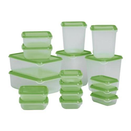 IKEA Pruta Set de 17 fiambreras, apilables, aptas para el lavavajillas y el microondas
