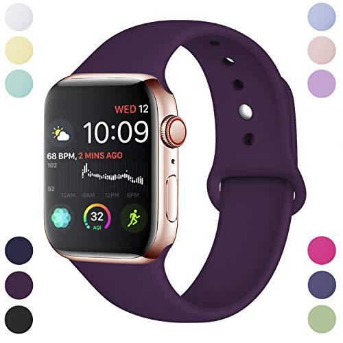 Hamile Correa Compatible con Apple Watch 38mm 40mm, Correa de Repuesto de Silicona Suave para Apple Watch Series 4/3/2/1, S/M, Ciruela