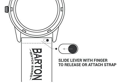 Barton Quick Release - Cinturini in Pelle di Alta qualità 22mm Nero