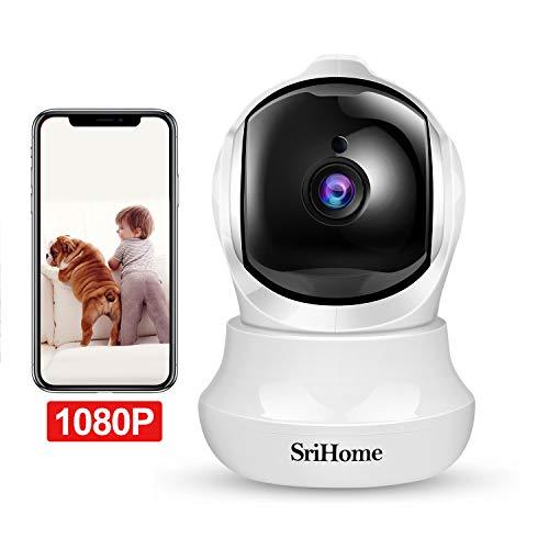 Telecamera Wi-Fi Interno FHD 1080P, SriHome Telecamera IP Senza Fili di Sicurezza Domestica HD Wifi con Visione Notturna, Pan/Tilt,Monitor di Sorveglianza Interna per Animali Domestici, Bambini