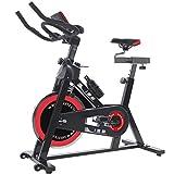 ISE Cardio Vélo Biking Vélo d'Appartement Vélo Spinning avec Programme et l'Ecran LCD, Cardiofréquencemètre, avec Porte-Bouteille & Bouteille, Volant d'inertie de 15 kg, SY-7001