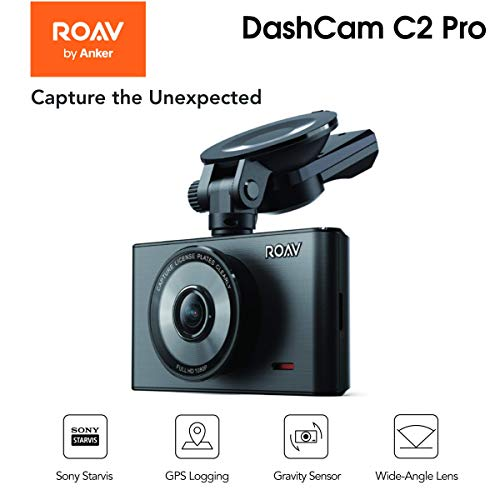 ROAV By Anker DashCam C2 Pro FHD 1080P Starvis G-Sensor , 4-Lane Wide-Angle Lens, GPS Logging , Built-in Wi-Fi , Dedicated App , WDR Parking and Night Mode Loop Recording