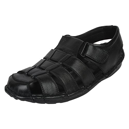 Onlinemaniya Men's Black Leather Athletic & Outdoor Sandals -7 UK