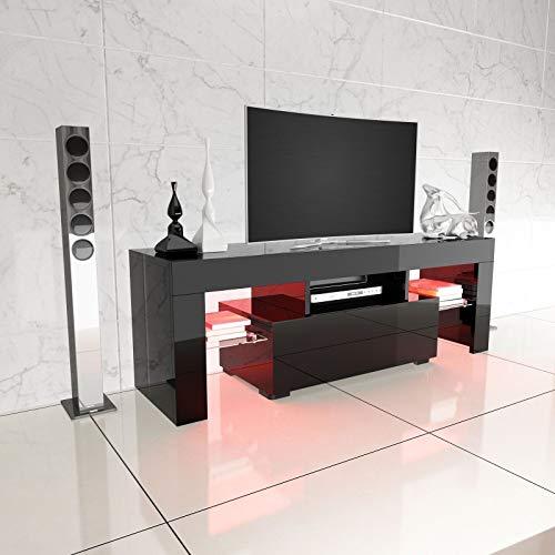 Generic - Mobile porta TV a S, 130 cm, finitura lucida, colore: Nero