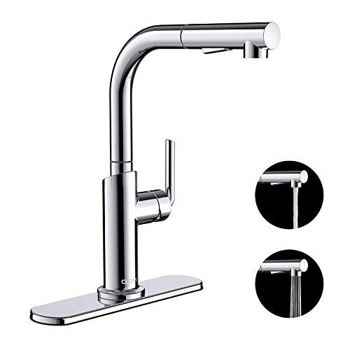 CLOFY Wasserhahn Küche Edelstahl Einhebel - Küchenarmatur mit herausziehbarem Auslauf, Pumpen Rohrlänge von 1,5 Metern, mit 2 Funktionen Brause, Wasser - Einsparung - Chrom, Wasserarmatur