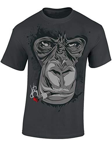 Maglietta: Gorilla - Fumatore - Sigaretta - Idea Regalo per Uomini - T-Shirt Divertente - Maglia Uomo - Hipster - Biker - Nera - Buffa - Animale (L)