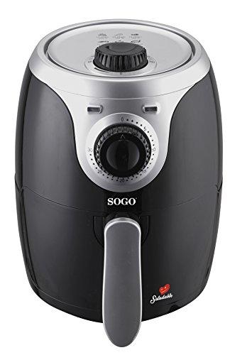 SOGO Air Fry - Freidora de Aire Caliente sin Aceite, Capacidad 2L, 1000W con Control de Temperatura y Temporizador, Sin Sobrecalentamientos, Color: Negro