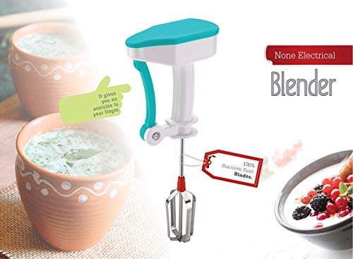 Bluzon Manual Hand Beater for Lassi, Milkshake & Buttermilk with ABS Grip and Stainless Steel Blades 4