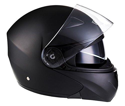 Moto Helmets F19 Matt Black · Integral-Helm Cruiser Motorrad-Helm Roller-Helm Scooter-Helm Flip-Up-Helm Modular-Helm Klapp-Helm Sturz-Helm Helmet · ECE zertifiziert · zwei Visiere · inkl. Stofftragetasche · Schwarz · S (55-56cm)