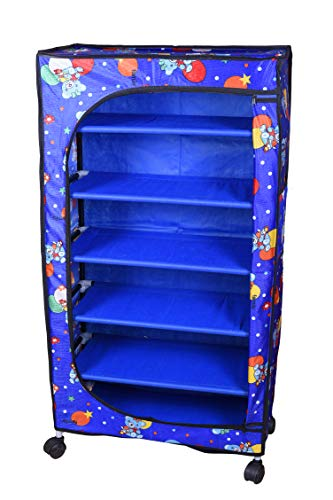 Flipzon 6 Shelves Baby Foldable Fabric Wardrobe/Toy Box with Wheels (Blue)