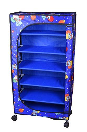 Flipzon 6 Shelves Baby Foldable Fabric Wardrobe/Toy Box with Wheels (Blue)