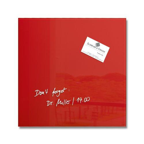 SIGEL GL159 Lavagna magnetica di vetro/bacheca di vetro Artverum, rossa, 30 x 30 cm