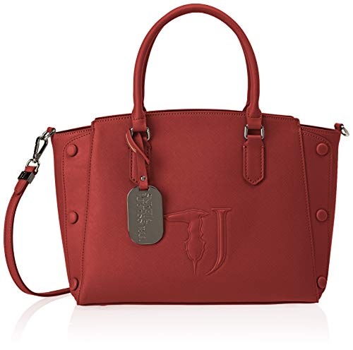 Trussardi Jeans Melissa Tote Medium Bag Ecolea, Borsa Donna, Rosso (Bordeaux On Tone), 21x24x13.5 cm (W x H x L)