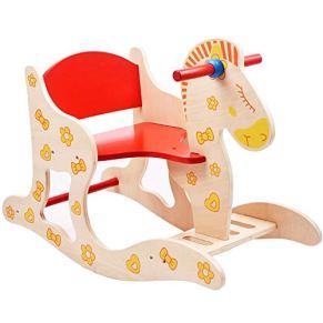 LIULAOHAN Caballo de oscilación del bebé, Silla de Madera para niños Caballo Mecedora Caballo Mecedora Bebé Juguete Bebé Regalo de cumpleaños Grande antivuelco Respaldo de Seguridad