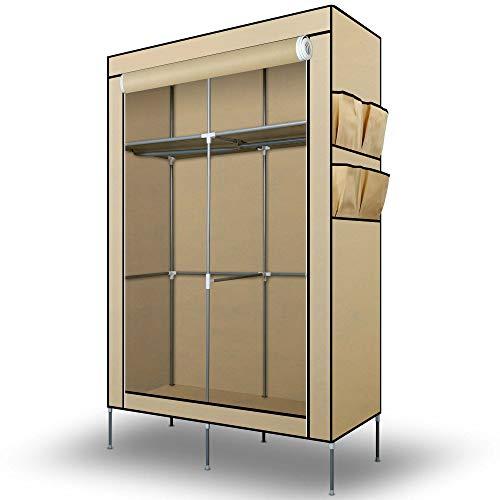 Intirilife Armadio Guardaroba Pieghevole 108x170x45 cm in Crème Beige - Cabina Tessuto con Anta...