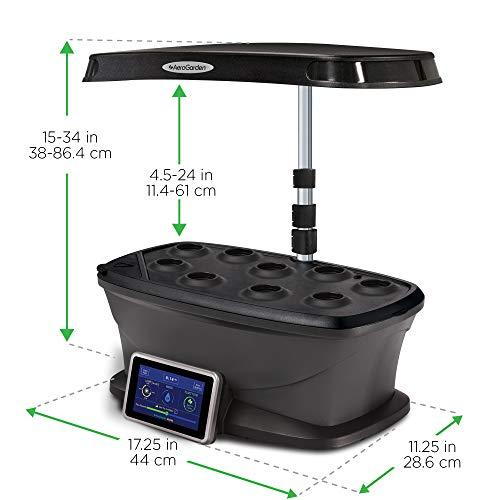 AeroGarden Cultivatore LED con Kit di Semi per Erbe Aromatiche Miracle-Gro, Nero, 35x26x100 cm