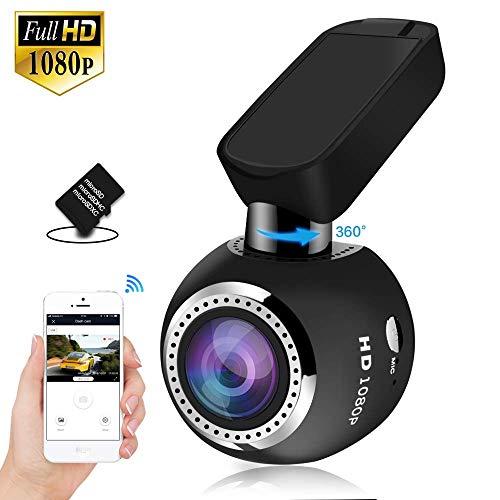 Telecamera Auto WiFi HQBKING Auto Camera Dashcam 1080P con Visione Notturna 170 Gradi Rilevazione di Movimento, Registrazione in Loop WDR G-Sensor e 1.5' Schermo LCD 360 ruota, 16G Card inclusa