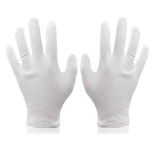 Foxnovo 8 Paia Guanti di Cotone bianco da lavoro leggero morbido guanti formato libero