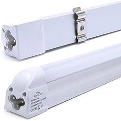 2 piezas DM T5 G5 60cm Tubo LED lámpara fluorescente 8W 810lm Blanco de luz diurna (4000-4500K) ,Ángulo de haz 160°, cubierta blanca de la leche, ambientalmente tubos LED con RoHs, CE certificado