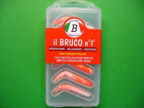 Il Bruco n°1 l'unica esca sintetica morbidissima e galleggiante (bianco-arancio)