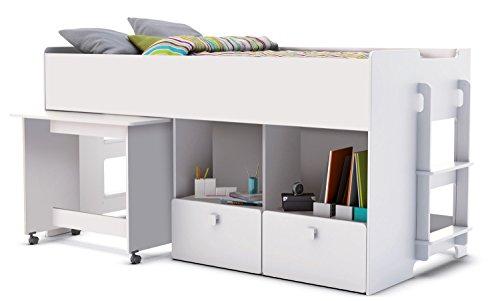 Bilira_Kids Hochbett Kombibett Jugendbett Kinderbett Hochbett 90x200 Bett Spielbett Stockbett Lattenrost Weiß Kindermöbel