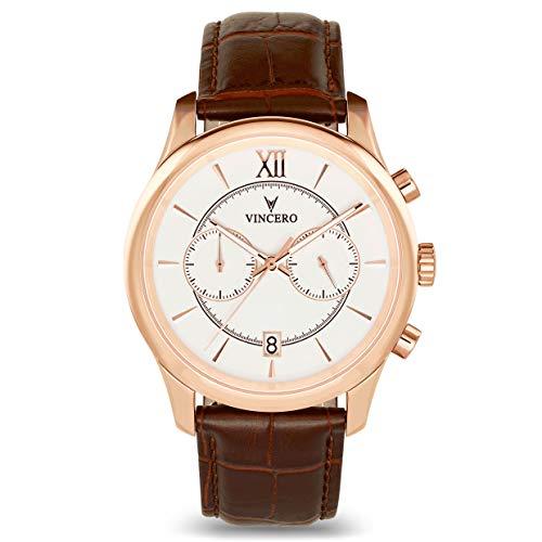 Vincero Luxus Bellwether Herren Armbanduhr - Roségold /Weiß mit braunem Lederarmband