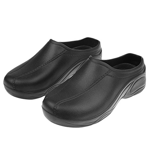 Prettyia 1 Par de Sandalias Zuecos Zapatos de Seguridad Trabajo Antideslizante para Uniforme Chef Enfermera Médica - Negro, 39