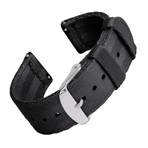 Archer Watch Straps | Cintura di Sicurezza Cinturino di Nylon Ricambio Sgancio Rapido Cinghia Orologio per Donne e Uomini, Orologi e Smartwatch | Nero, 20mm