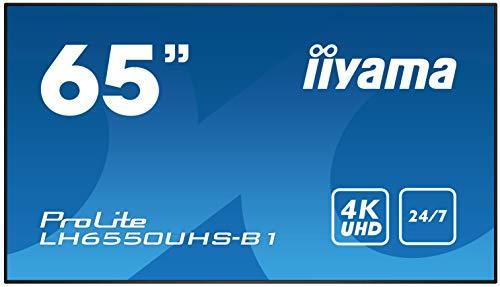 iiyama ProLite LH6550UHS-B1 164cm (65 Zoll) Digital Signage Display AMVA3 LED Panel 4K UHD 24/7 Ultra Slim (Component video Y/Pb/Pr, HDMI x3, DisplayPort, USB x3, RS232, RJ45 LAN, IR) schwarz