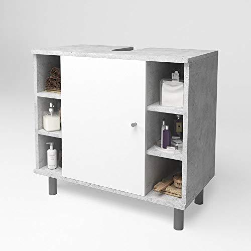 Waschtischunterschrank Badschrank Badezimmerschrank Waschbeckenunterschrank Unterstellschrank Beton/Weiß