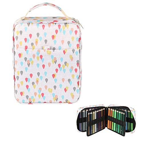 Lumsburry - Astuccio per 150 matite colorate/120 penne gel con chiusura lampo, impermeabile, per...