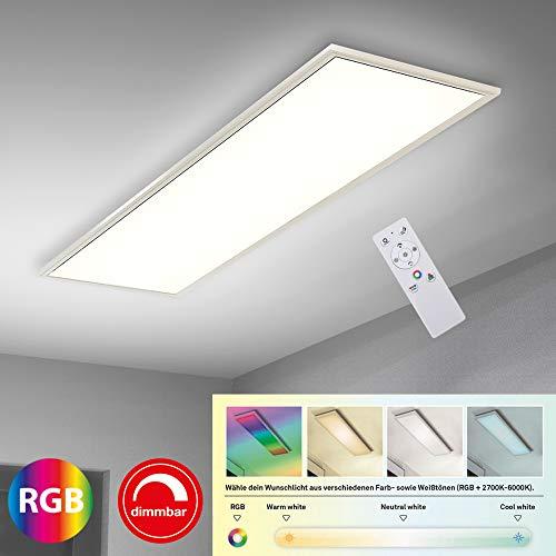Briloner Leuchten Ultraflaches RGB CCT LED Panel, Deckenleuchte rechteckig (119,5 x 29,5cm), Weiß, Farbtemperatursteuerung (3.000-6.500 Kelvin), Dimmbar, 4.100 Lumen Lichtleistung, Kunststoff