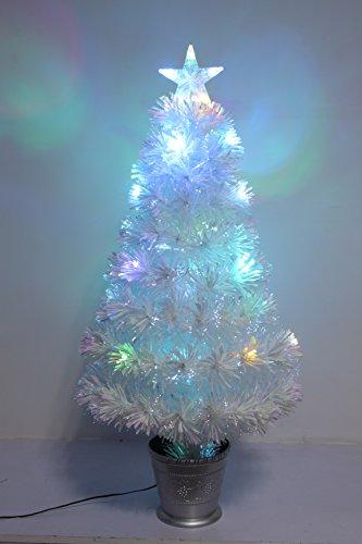 Christmas Concepts® 36 Pouces (3FT) Iridescent LED Fibre Optique Arbre de Noël avec Changement de Couleur LED Lumières + Base Argentée