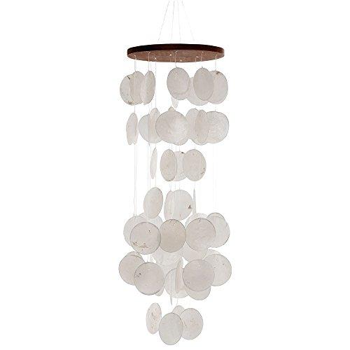 HAB & GUT -HA105- Windspiel WEIß, Perlmutt, 60 cm, Fensterschmuck, Mobile für Fenster, Wand, Zimmer, Terrasse und Balkon