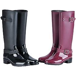 H-Mastery Bottes de Pluie Femme en Hautes Caoutchouc avec Talon Chaussures Imperméable Boucle Zip Wellington Boots(Rouge,Taille40)