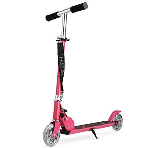 Fascol Monopattino 2 Ruote Lampeggiante Regolabile Scooter Freestyle Pieghevole, Adatto per Bambini...