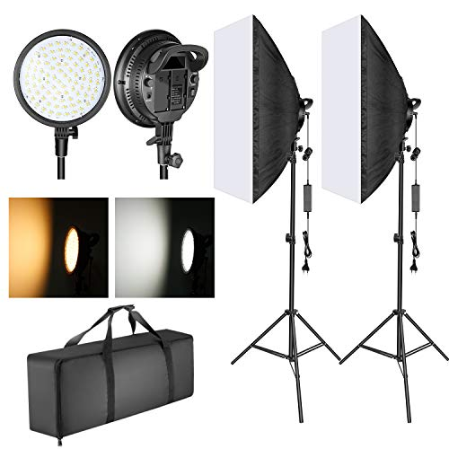 Neewer LED Video Luce con 51,1x71cm Softbox 48W Lampadina LED Dimmerabile a 2 Temperature di Colore...