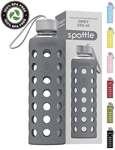 spottle® Glasflasche mit Silikonhülle auslaufsicher - Trinkflasche Glas 550ml - spülmaschinenfest/Wasserflasche Glas mit Schutzhülle aus Silikon. Ideal für unterwegs, Fitness, Yoga, Sport - BPA frei