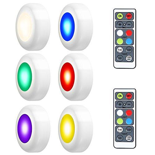 LEDGLE 3W Wireless Armadio Light Efficient Puck Lights Luci notturne RGB Multi-Purpose Luci a LED...