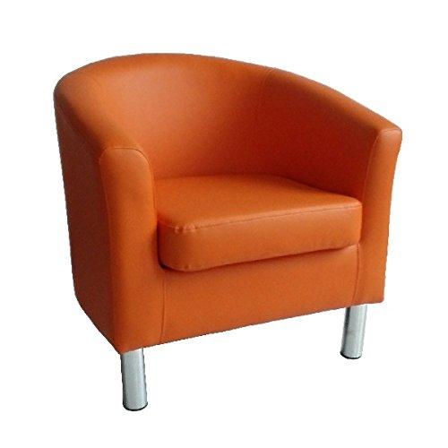 Poltrona di design a pozzetto in pelle per sala da pranzo, soggiorno, ufficio, reception 66 x 68 x...