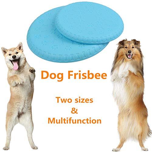 BUYGOO 2 Piezas Durable Dog Frisbee con S/L Size 100% Soft Natural Non-Toxic Rubber Dog Flying Disc para Entrenamiento Interactivo al Aire Libre e Interior