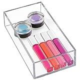 iDesign Porta trucchi, Piccolo separatore cassetti impilabile per cosmetici o cancelleria, Portaoggetti bagno cucina o ufficio in plastica, trasparente