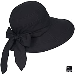 Summer Sun Hat, Children Outdoor Leisure, Sun Hat, Travel Can Be Folded,L (58-60Cm) Elastic Band,Black