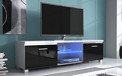 Home Innovation- TV mobile LED - porta TV, bianco mate e nero laccato, dimensioni: 150 x 40 x 42 cm...
