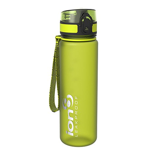 Ion8 - Bottiglia per l'acqua, a prova di perdite, senza BPA., Unisex, Leak Proof BPA Free,Frosted Green, 500ml